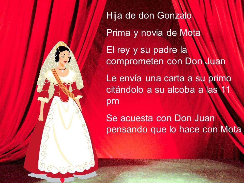 Hija de don Gonzalo Prima y novia de Mota El rey y su padre la comprometen con Don Juan Le envía una carta a su primo citándolo a su alcoba a las 11 p