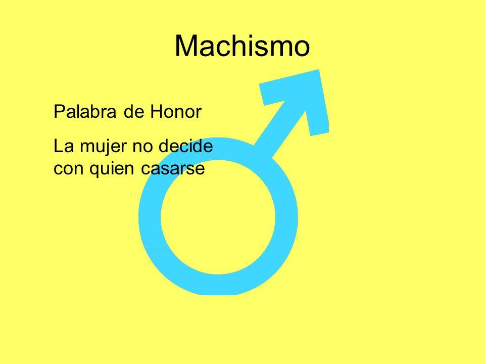 Machismo Palabra de Honor La mujer no decide con quien casarse