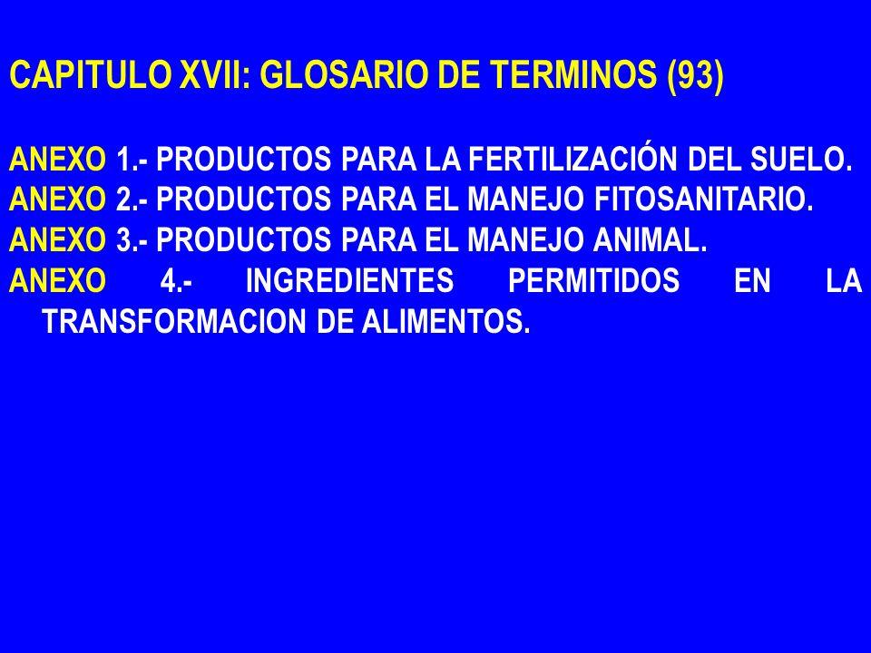 CAPITULO XVII: GLOSARIO DE TERMINOS (93) ANEXO 1.- PRODUCTOS PARA LA FERTILIZACIÓN DEL SUELO. ANEXO 2.- PRODUCTOS PARA EL MANEJO FITOSANITARIO. ANEXO