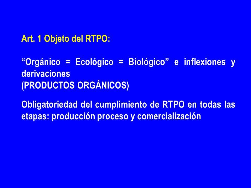 Art. 1 Objeto del RTPO: Orgánico = Ecológico = Biológico e inflexiones y derivaciones (PRODUCTOS ORGÁNICOS) Obligatoriedad del cumplimiento de RTPO en