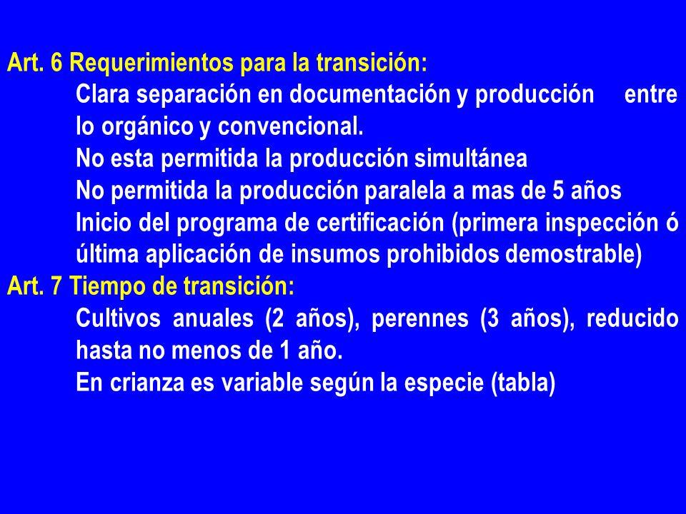 Art. 6 Requerimientos para la transición: Clara separación en documentación y producción entre lo orgánico y convencional. No esta permitida la produc