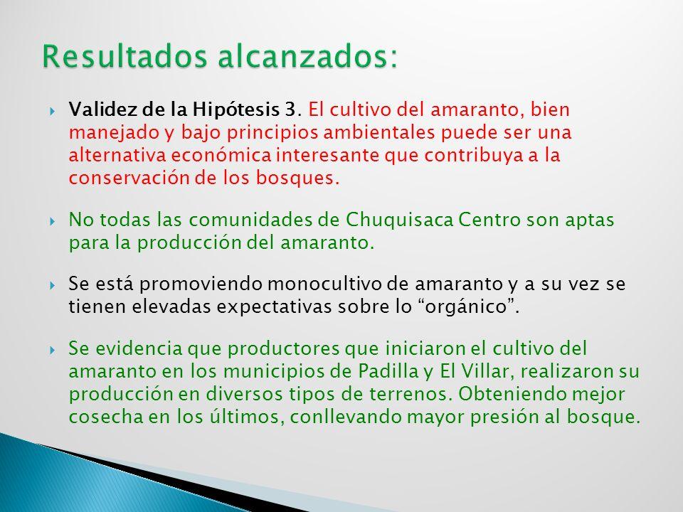 Validez de la Hipótesis 3. El cultivo del amaranto, bien manejado y bajo principios ambientales puede ser una alternativa económica interesante que co