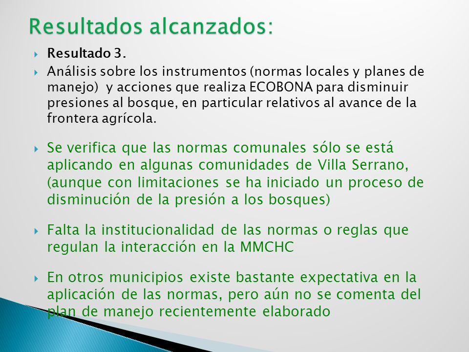 Resultado 3. Análisis sobre los instrumentos (normas locales y planes de manejo) y acciones que realiza ECOBONA para disminuir presiones al bosque, en