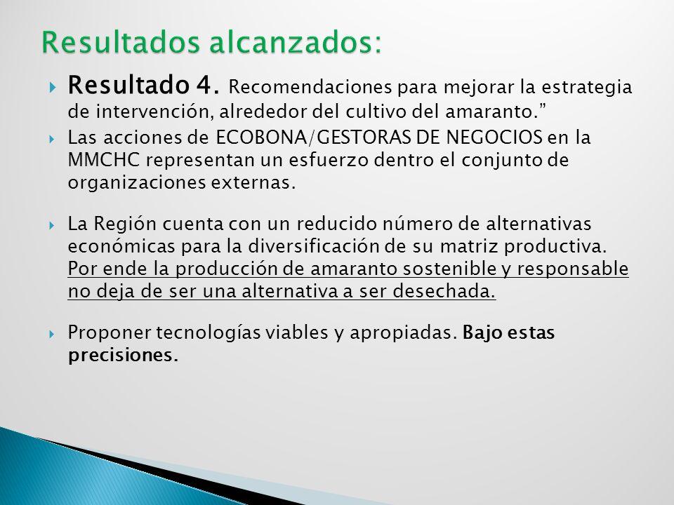 Resultado 4. Recomendaciones para mejorar la estrategia de intervención, alrededor del cultivo del amaranto. Las acciones de ECOBONA/GESTORAS DE NEGOC