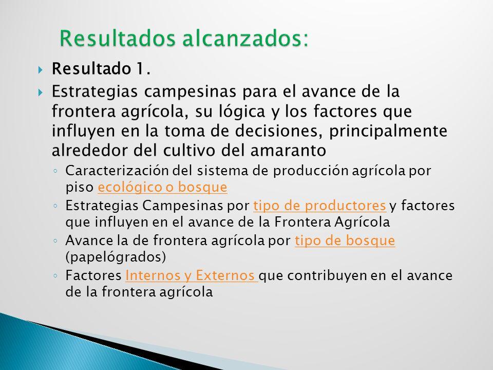 Resultado 1. Estrategias campesinas para el avance de la frontera agrícola, su lógica y los factores que influyen en la toma de decisiones, principalm
