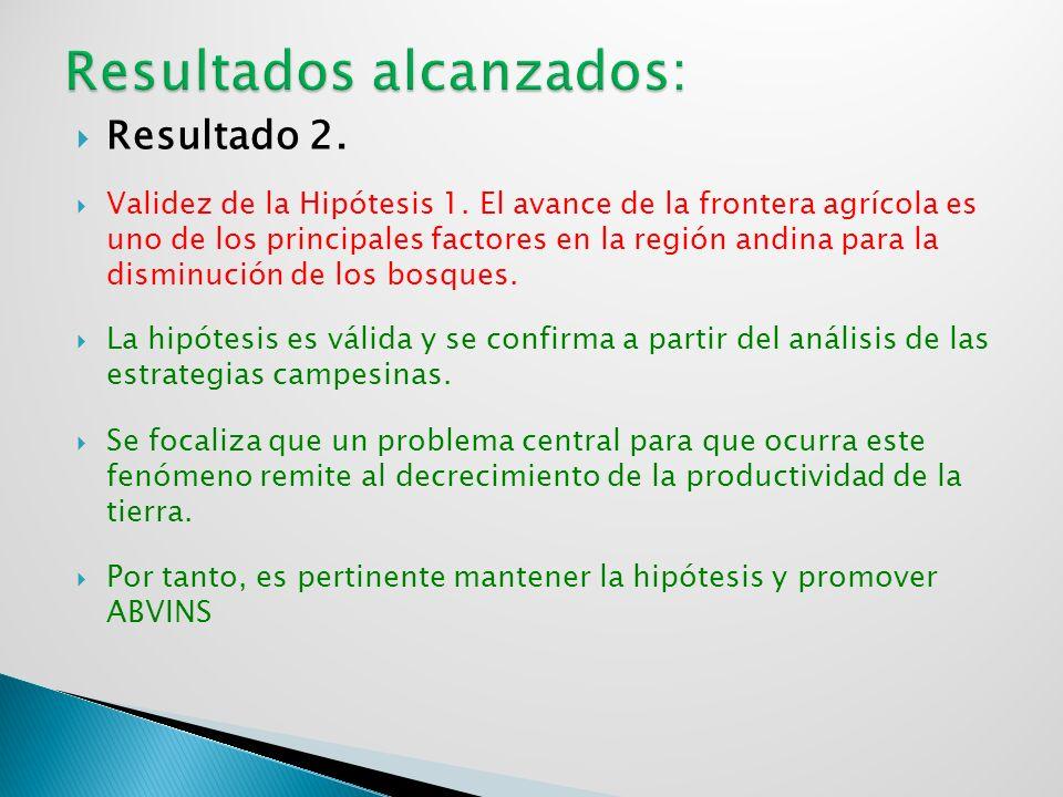 Resultado 2. Validez de la Hipótesis 1. El avance de la frontera agrícola es uno de los principales factores en la región andina para la disminución d