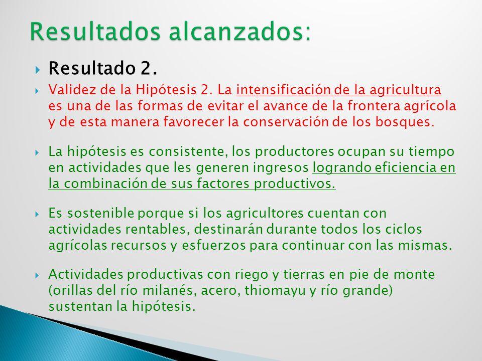 Resultado 2. Validez de la Hipótesis 2. La intensificación de la agricultura es una de las formas de evitar el avance de la frontera agrícola y de est