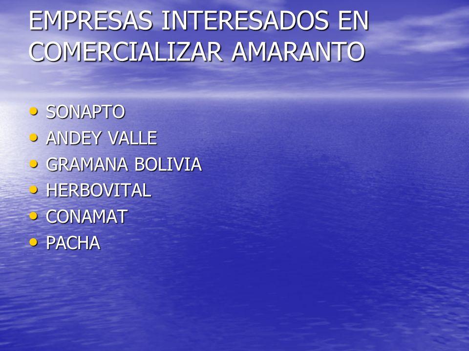 EMPRESAS INTERESADOS EN COMERCIALIZAR AMARANTO SONAPTO SONAPTO ANDEY VALLE ANDEY VALLE GRAMANA BOLIVIA GRAMANA BOLIVIA HERBOVITAL HERBOVITAL CONAMAT CONAMAT PACHA PACHA