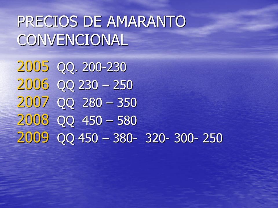 PRECIOS DE AMARANTO CONVENCIONAL 2005 QQ. 200-230 2006 QQ 230 – 250 2007 QQ 280 – 350 2008 QQ 450 – 580 2009 QQ 450 – 380- 320- 300- 250
