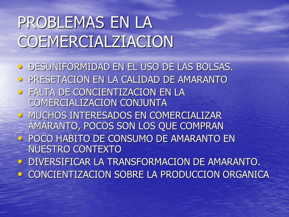 PROBLEMAS EN LA COEMERCIALZIACION DESUNIFORMIDAD EN EL USO DE LAS BOLSAS. DESUNIFORMIDAD EN EL USO DE LAS BOLSAS. PRESETACION EN LA CALIDAD DE AMARANT