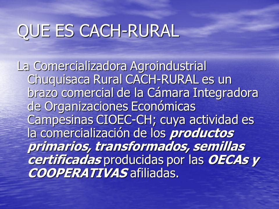 QUE ES CACH-RURAL La Comercializadora Agroindustrial Chuquisaca Rural CACH-RURAL es un brazo comercial de la Cámara Integradora de Organizaciones Económicas Campesinas CIOEC-CH; cuya actividad es la comercialización de los productos primarios, transformados, semillas certificadas producidas por las OECAs y COOPERATIVAS afiliadas.