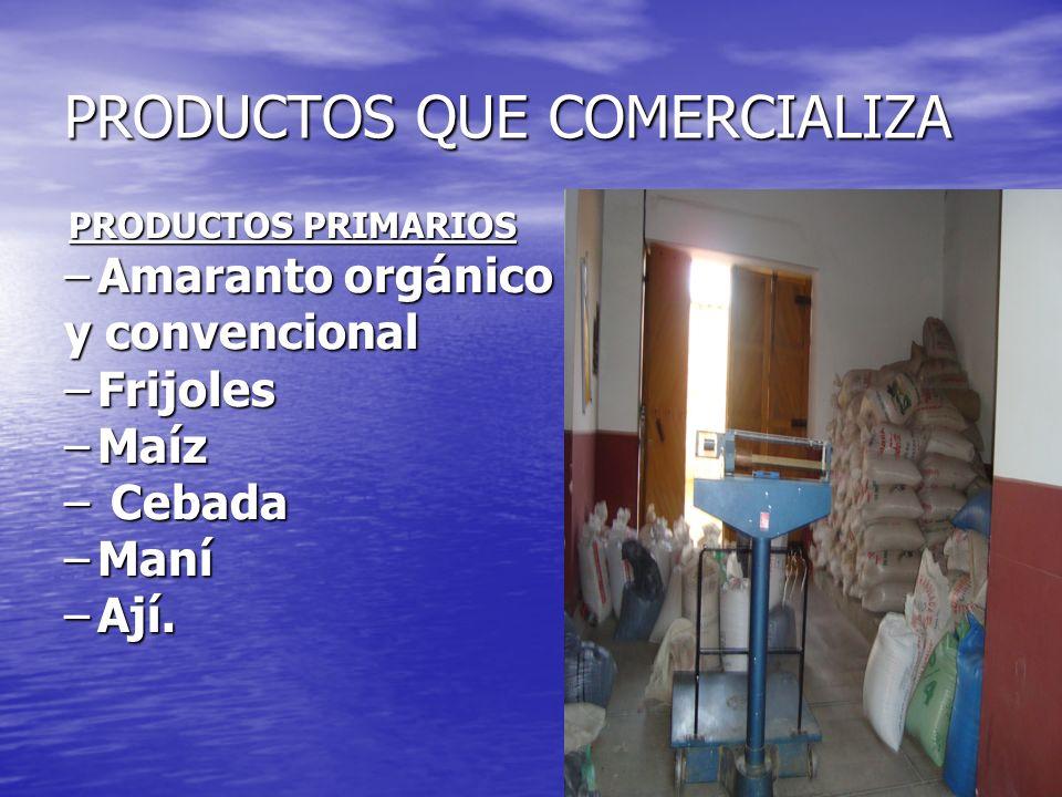 PRODUCTOS QUE COMERCIALIZA PRODUCTOS PRIMARIOS PRODUCTOS PRIMARIOS –Amaranto orgánico y convencional –Frijoles –Maíz – Cebada –Maní –Ají.