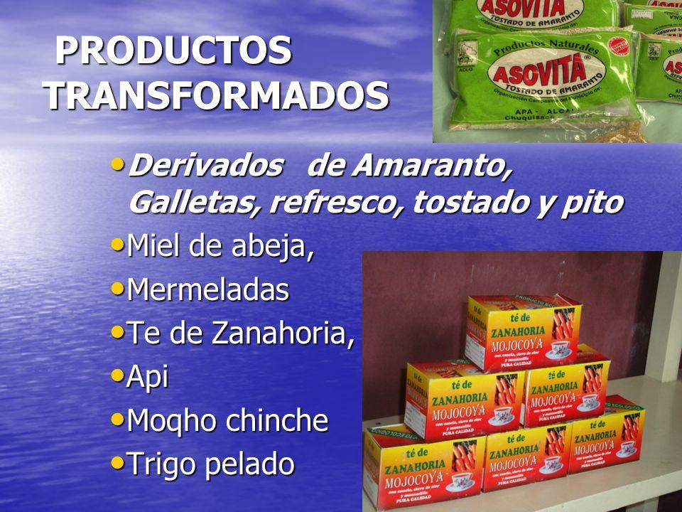 PRODUCTOS TRANSFORMADOS PRODUCTOS TRANSFORMADOS Derivados de Amaranto, Galletas, refresco, tostado y pito Derivados de Amaranto, Galletas, refresco, tostado y pito Miel de abeja, Miel de abeja, Mermeladas Mermeladas Te de Zanahoria, Te de Zanahoria, Api Api Moqho chinche Moqho chinche Trigo pelado Trigo pelado