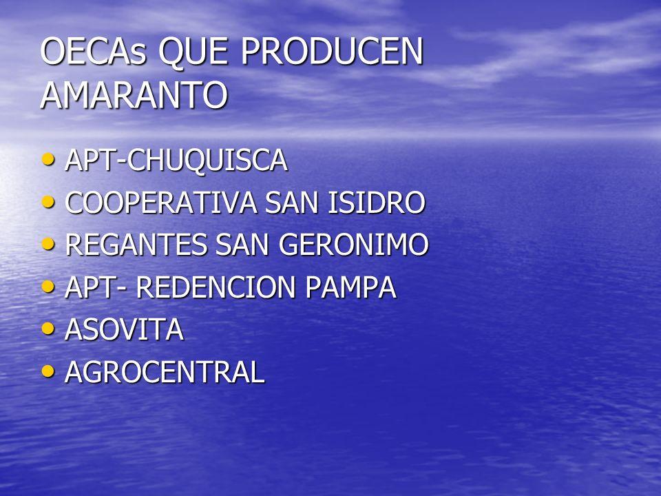 OECAs QUE PRODUCEN AMARANTO APT-CHUQUISCA APT-CHUQUISCA COOPERATIVA SAN ISIDRO COOPERATIVA SAN ISIDRO REGANTES SAN GERONIMO REGANTES SAN GERONIMO APT- REDENCION PAMPA APT- REDENCION PAMPA ASOVITA ASOVITA AGROCENTRAL AGROCENTRAL