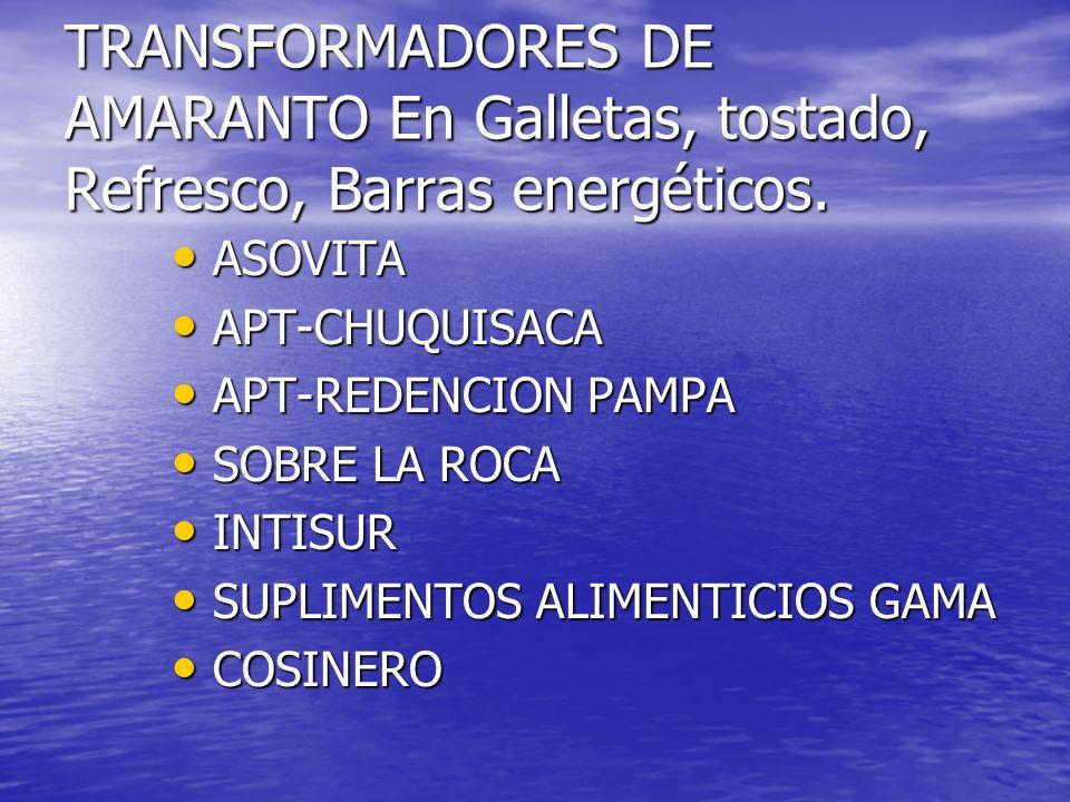 TRANSFORMADORES DE AMARANTO En Galletas, tostado, Refresco, Barras energéticos. ASOVITA ASOVITA APT-CHUQUISACA APT-CHUQUISACA APT-REDENCION PAMPA APT-