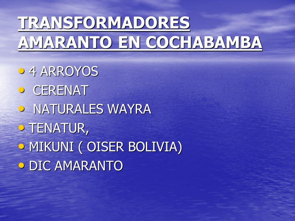 TRANSFORMADORES AMARANTO EN COCHABAMBA 4 ARROYOS 4 ARROYOS CERENAT CERENAT NATURALES WAYRA NATURALES WAYRA TENATUR, TENATUR, MIKUNI ( OISER BOLIVIA) M