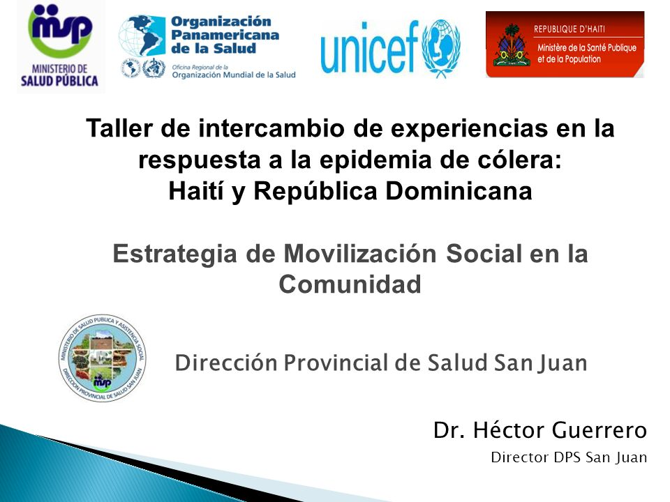 Dirección Provincial de Salud San Juan Dr. Héctor Guerrero Director DPS San Juan Taller de intercambio de experiencias en la respuesta a la epidemia d