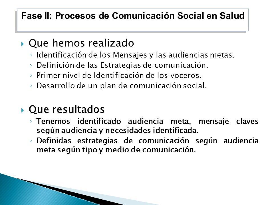Que hemos realizado Identificación de los Mensajes y las audiencias metas. Definición de las Estrategias de comunicación. Primer nivel de Identificaci