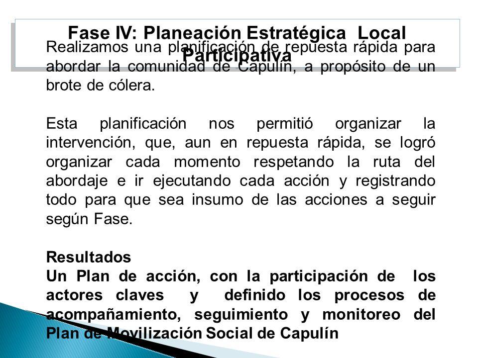 Fase IV: Planeación Estratégica Local Participativa Realizamos una planificación de repuesta rápida para abordar la comunidad de Capulín, a propósito