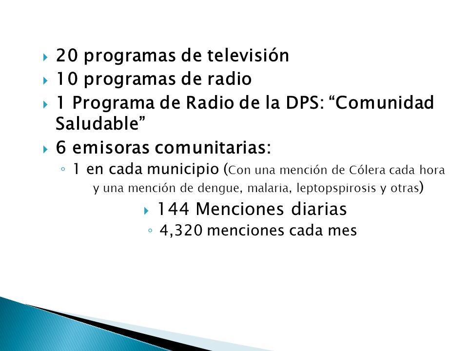 20 programas de televisión 10 programas de radio 1 Programa de Radio de la DPS: Comunidad Saludable 6 emisoras comunitarias: 1 en cada municipio ( Con