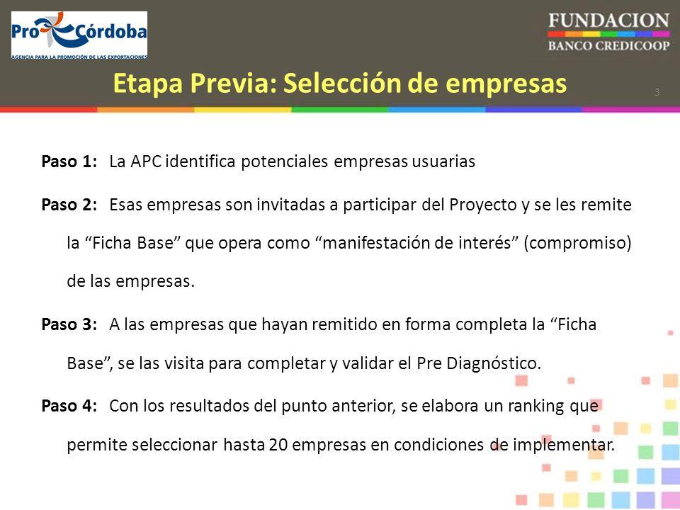 3 Etapa Previa: Selección de empresas Paso 1:La APC identifica potenciales empresas usuarias Paso 2:Esas empresas son invitadas a participar del Proyecto y se les remite la Ficha Base que opera como manifestación de interés (compromiso) de las empresas.