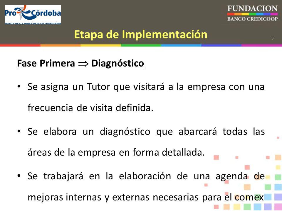 5 Etapa de Implementación Fase Primera Diagnóstico Se asigna un Tutor que visitará a la empresa con una frecuencia de visita definida.