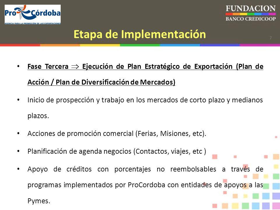 7 Etapa de Implementación Fase Tercera Ejecución de Plan Estratégico de Exportación (Plan de Acción / Plan de Diversificación de Mercados) Inicio de prospección y trabajo en los mercados de corto plazo y medianos plazos.