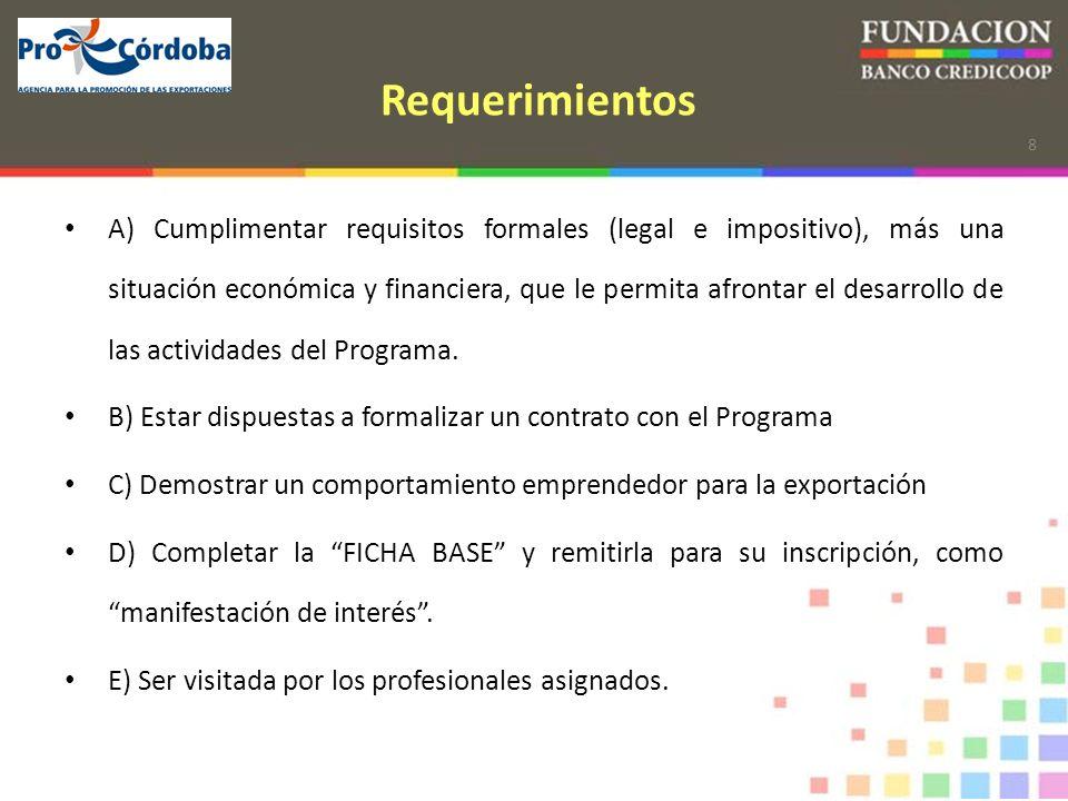 8 Requerimientos A) Cumplimentar requisitos formales (legal e impositivo), más una situación económica y financiera, que le permita afrontar el desarrollo de las actividades del Programa.