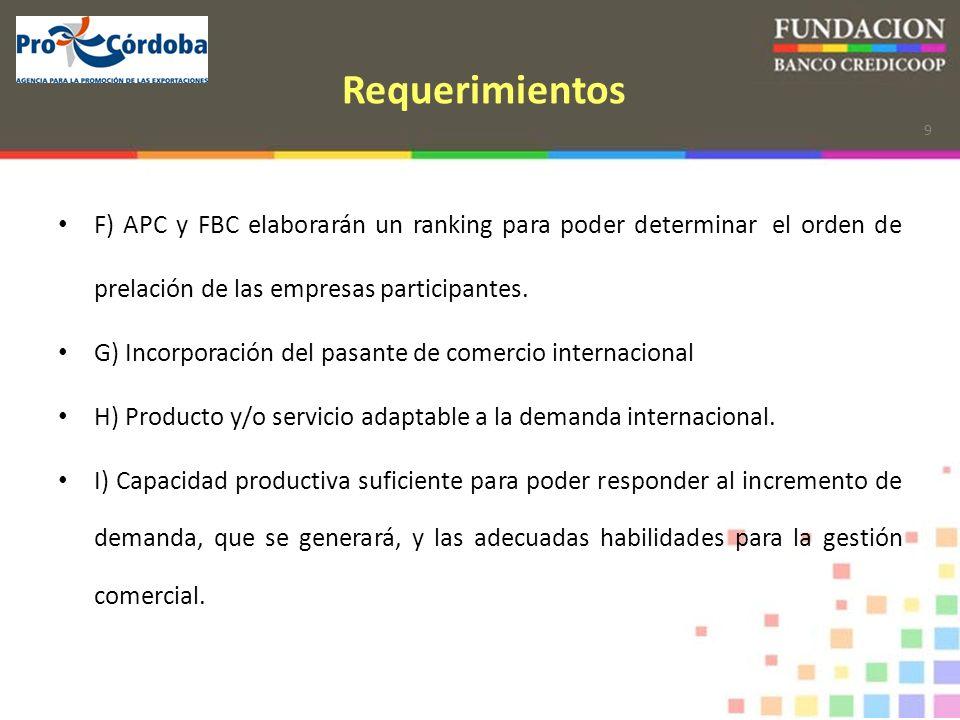 9 Requerimientos F) APC y FBC elaborarán un ranking para poder determinar el orden de prelación de las empresas participantes.