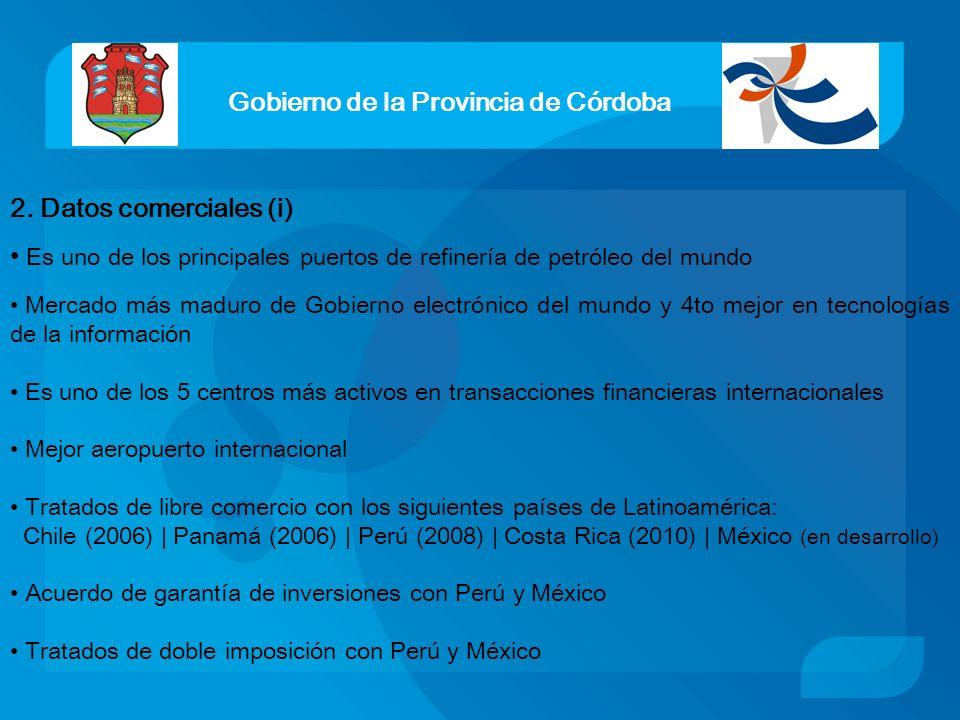 Gobierno de la Provincia de Córdoba 2. Datos comerciales (i) Es uno de los principales puertos de refinería de petróleo del mundo Mercado más maduro d