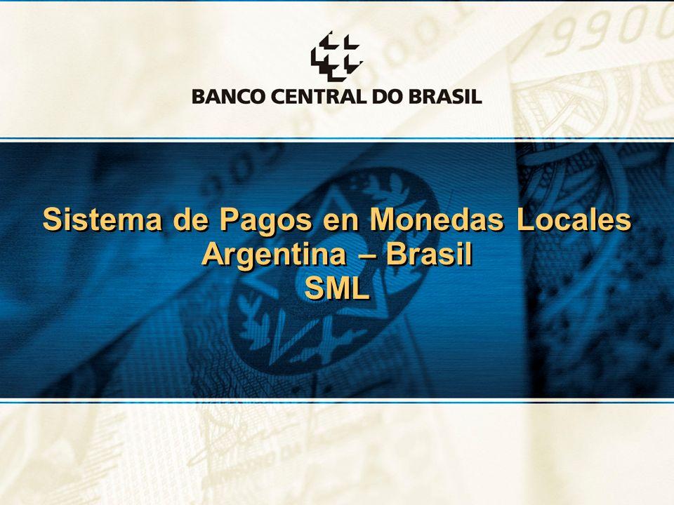 2 Sistema de Pagos en Monedas Locales - SML El flujo comercial entre Argentina y Brasil es relevante Participacion - total brasileno, %Participacion - total con Mercosur, % ImportacionesExportacionesFlujoImportacionesExportacionesFlujos 1997 13,312,813,0 1997 84,274,879,6 1998 13,913,213,6 1998 85,276,080,7 1999 11,811,211,5 1999 86,579,182,8 2000 12,311,311,8 2000 87,880,684,2 2001 11,28,69,8 2001 88,578,683,8 2002 10,03,96,6 2002 84,570,779,4 2003 9,76,27,6 2003 82,280,481,3 2004 8,97,68,1 2004 87,282,784,6 2005 8,58,4 2005 88,584,586,0 2006 8,88,58,6 2006 89,883,986,2 2007 8,69,08,8 2007 89,583,185,7 2007* 8,78,8 2007* 90,182,985,8 2008* 7,49,28,4 2008* 88,781,284,2 *Hasta agosto Fonte: MDIC / Secex*Hasta agostoFonte: MDIC / Secex