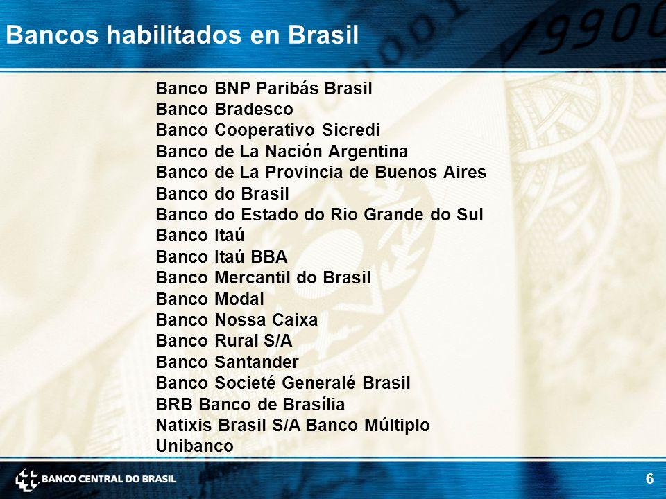 6 Bancos habilitados en Brasil Banco BNP Paribás Brasil Banco Bradesco Banco Cooperativo Sicredi Banco de La Nación Argentina Banco de La Provincia de