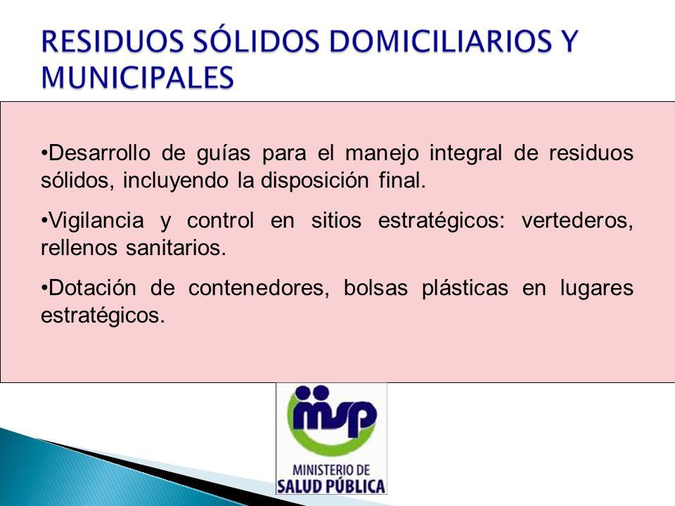 Desarrollo de guías para el manejo integral de residuos sólidos, incluyendo la disposición final.