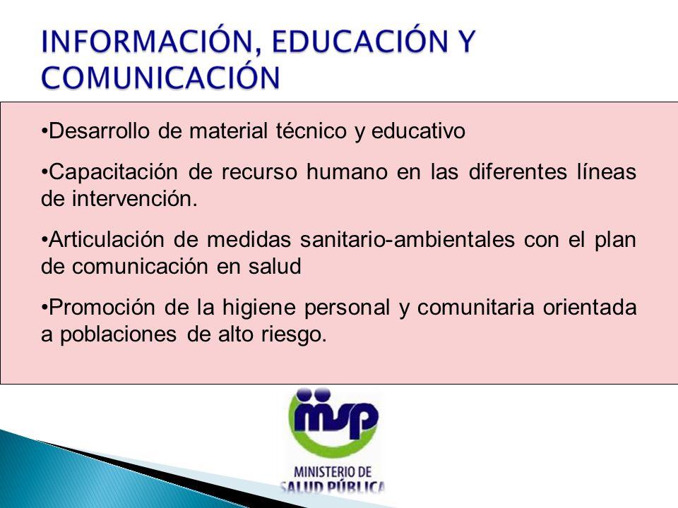 Desarrollo de material técnico y educativo Capacitación de recurso humano en las diferentes líneas de intervención.