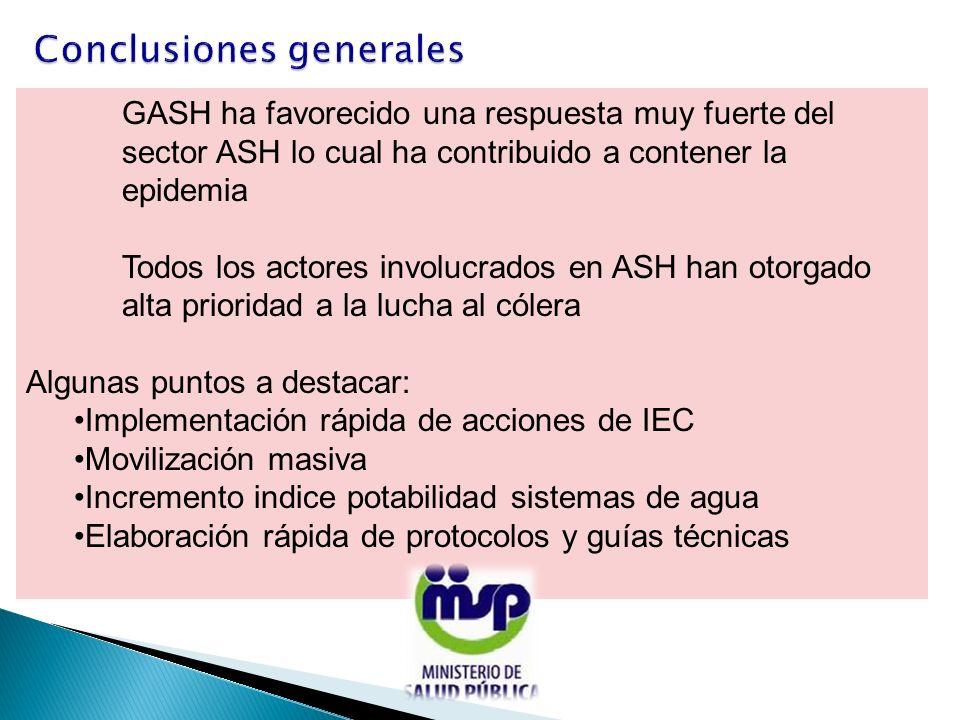 GASH ha favorecido una respuesta muy fuerte del sector ASH lo cual ha contribuido a contener la epidemia Todos los actores involucrados en ASH han oto