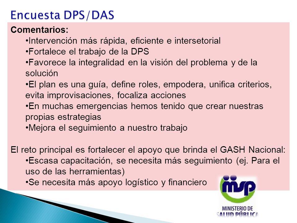 Comentarios: Intervención más rápida, eficiente e intersetorial Fortalece el trabajo de la DPS Favorece la integralidad en la visión del problema y de