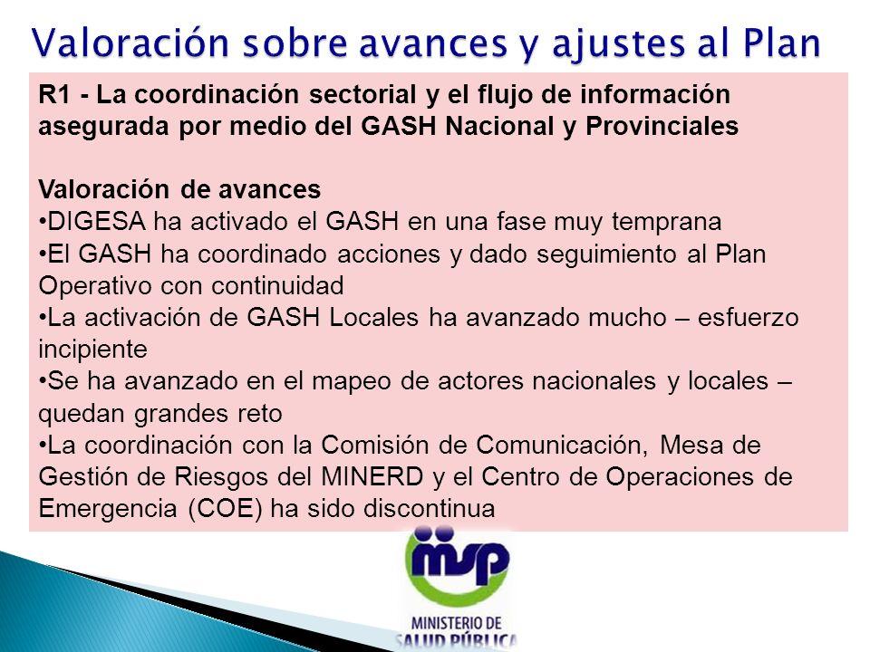 R1 - La coordinación sectorial y el flujo de información asegurada por medio del GASH Nacional y Provinciales Valoración de avances DIGESA ha activado
