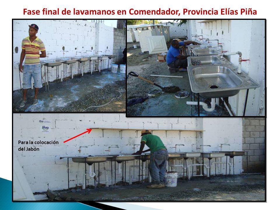 Fase final de lavamanos en Comendador, Provincia Elías Piña Para la colocación del Jabón