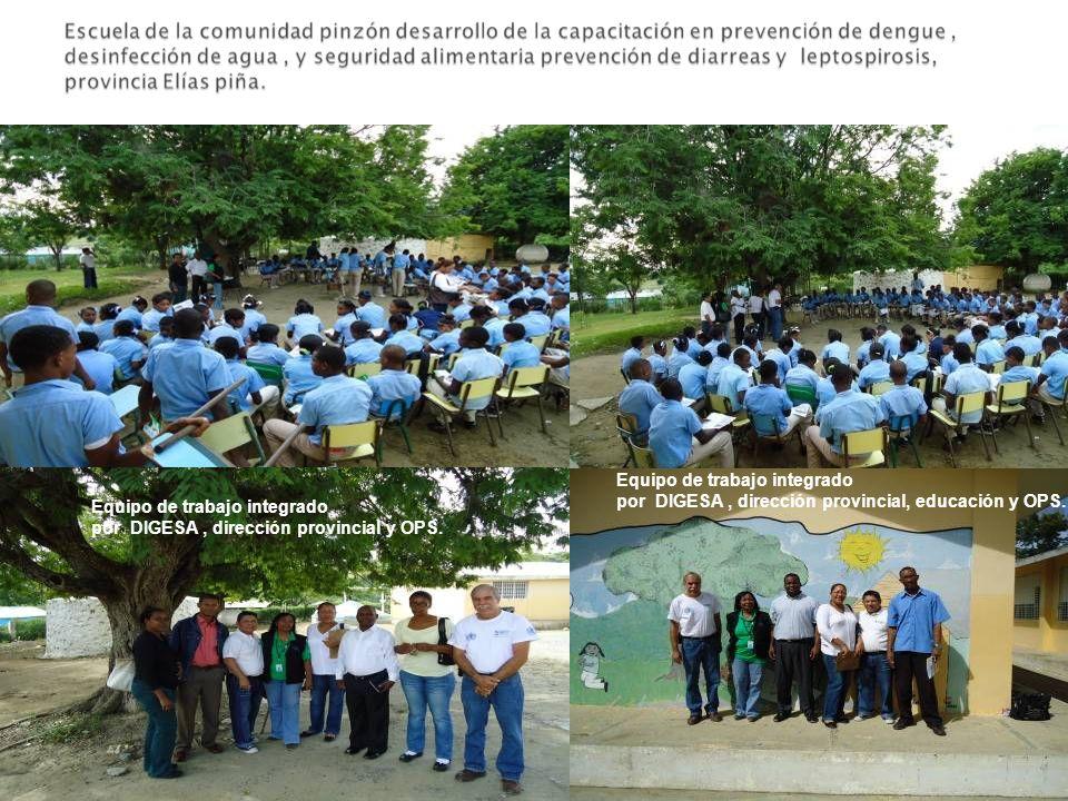 Equipo de trabajo integrado por DIGESA, dirección provincial y OPS. Equipo de trabajo integrado por DIGESA, dirección provincial, educación y OPS.