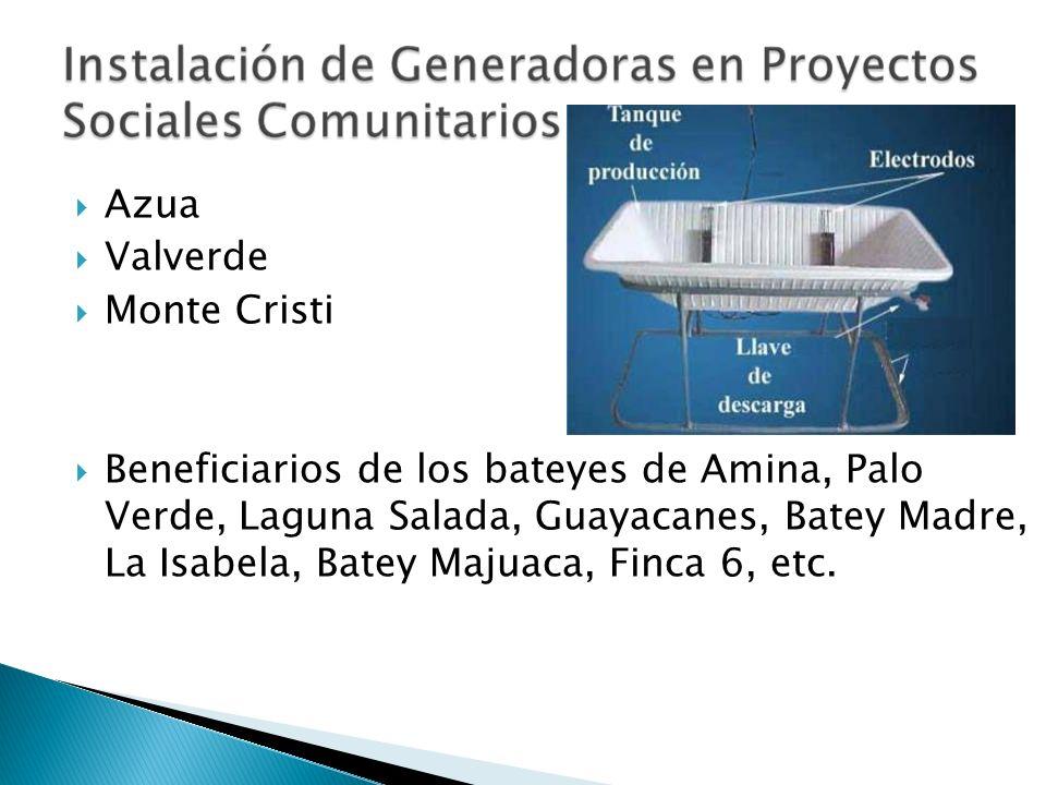 Azua Valverde Monte Cristi Beneficiarios de los bateyes de Amina, Palo Verde, Laguna Salada, Guayacanes, Batey Madre, La Isabela, Batey Majuaca, Finca
