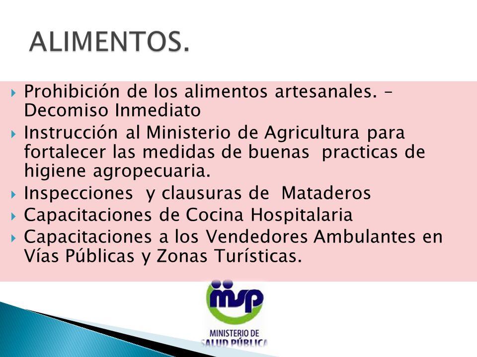 Prohibición de los alimentos artesanales. – Decomiso Inmediato Instrucción al Ministerio de Agricultura para fortalecer las medidas de buenas practica