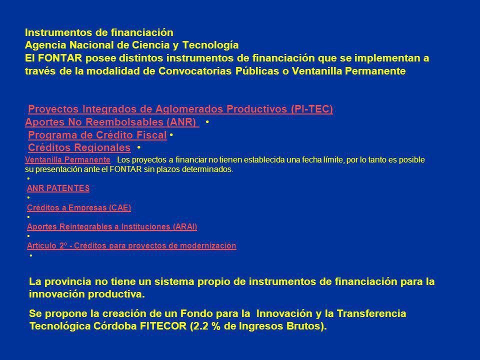Instrumentos de financiación Agencia Nacional de Ciencia y Tecnología El FONTAR posee distintos instrumentos de financiación que se implementan a través de la modalidad de Convocatorias Públicas o Ventanilla Permanente Proyectos Integrados de Aglomerados Productivos (PI-TEC) Aportes No Reembolsables (ANR) Programa de Crédito Fiscal Créditos Regionales Proyectos Integrados de Aglomerados Productivos (PI-TEC) Aportes No Reembolsables (ANR) Programa de Crédito FiscalCréditos Regionales Ventanilla PermanenteVentanilla Permanente Los proyectos a financiar no tienen establecida una fecha límite, por lo tanto es posible su presentación ante el FONTAR sin plazos determinados.