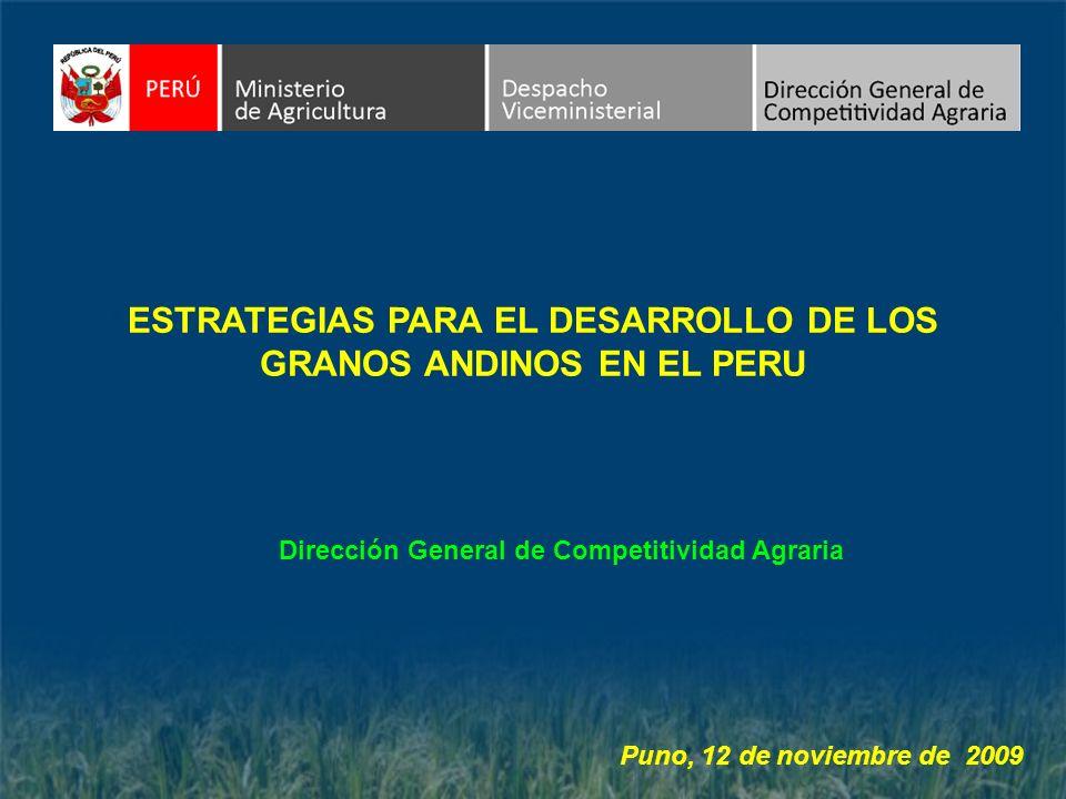 ESTRATEGIAS PARA EL DESARROLLO DE LOS GRANOS ANDINOS EN EL PERU Dirección General de Competitividad Agraria Puno, 12 de noviembre de 2009