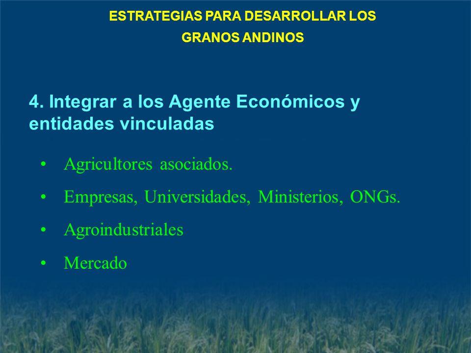 Agricultores asociados. Empresas, Universidades, Ministerios, ONGs. Agroindustriales Mercado 4. Integrar a los Agente Económicos y entidades vinculada