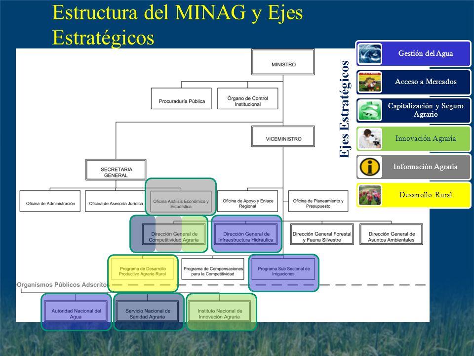 Estructura del MINAG y Ejes Estratégicos Ejes Estratégicos Gestión del Agua Acceso a Mercados Capitalización y Seguro Agrario Innovación Agraria Infor