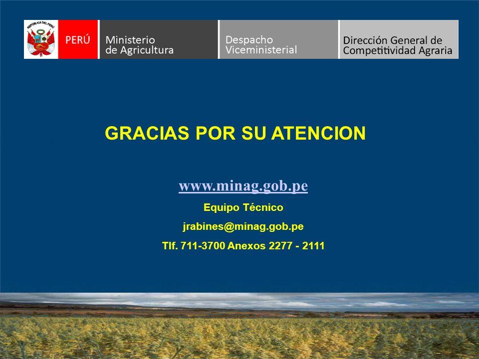 www.minag.gob.pe Equipo Técnico jrabines@minag.gob.pe Tlf. 711-3700 Anexos 2277 - 2111 GRACIAS POR SU ATENCION