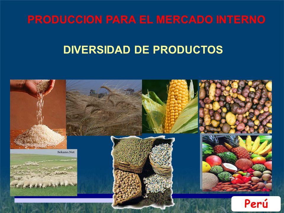 DIVERSIDAD DE PRODUCTOS Perú PRODUCCION PARA EL MERCADO INTERNO