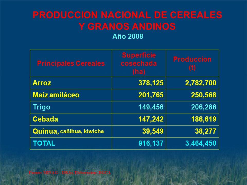 PRODUCCION NACIONAL DE CEREALES Y GRANOS ANDINOS Año 2008 Principales Cereales Superficie cosechada (ha) Produccion (t) Arroz378,1252,782,700 Maíz ami