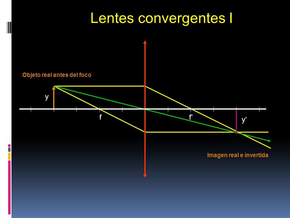 f f y y Lentes convergentes I Objeto real antes del foco Imagen real e invertida