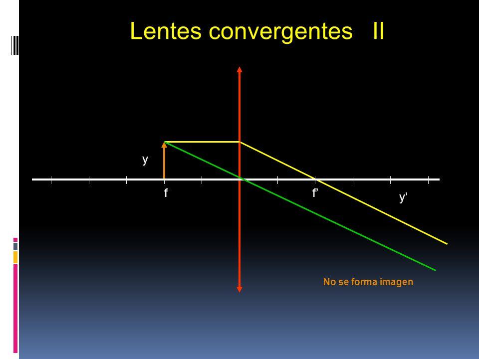 f f y y Lentes convergentes II Objeto real en el foco No se forma imagen